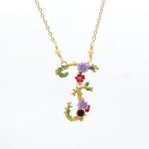 Les Néréides Enamel Floral Letter Pendant Necklace